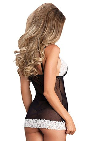 Leg Avenue - Lace Mesh Chemise and G-string Set Rear