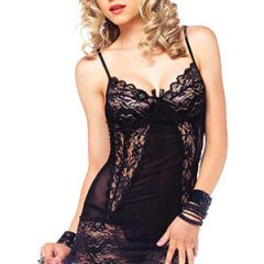 Leg Avenue - Sexy 2 Piece Lace Chemise with Mesh Panelling