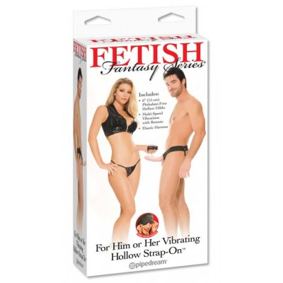 Fetish Fantasy For Him Or Her 6.5 Inch Vibrating Hollow Strap-On